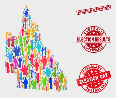 Democracy Australian Queensland map and seal stamps. Red rectangle Access Granted grunge seal. Colorful Australian Queensland map mosaic of raised vote arms. Vector composition for election day,