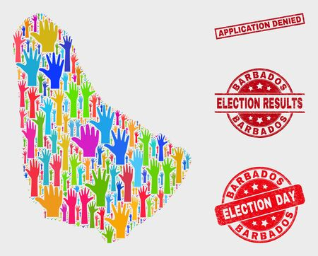 Ballot Barbados map and seal stamps. Red rectangular Application Denied distress seal stamp. Colorful Barbados map mosaic of raised volunteer arms. Vector collage for election day, Illustration