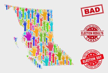 Election British Columbia map and seal stamps. Red rectangular Bad textured seal. Colored British Columbia map mosaic of raised selection hands. Vector collage for election day, and ballot results.