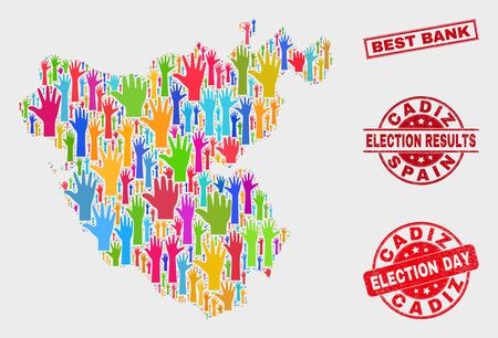 Democracy Cadiz Province map and seal stamps. Red rectangle Best Bank textured watermark. Bright Cadiz Province map mosaic of raised up election hands. Vector combination for election day, Иллюстрация