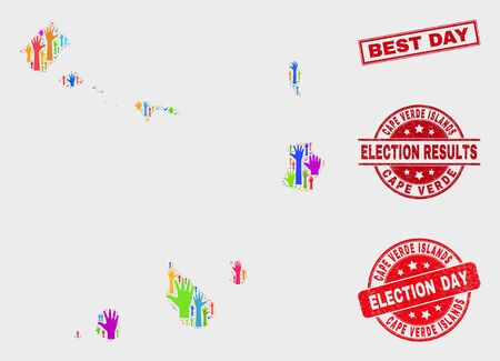 Election Cape Verde Islands map and seal stamps. Red rectangle Best Day textured seal stamp. Colorful Cape Verde Islands map mosaic of raised up vote hands. Vector composition for election day, Ilustração