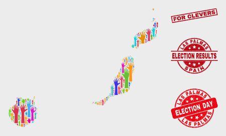 Elección Mapa de la provincia de Las Palmas y sellos de sello. Sello de socorro rectangular rojo de For Clevers. Colorido mosaico de mapa de la provincia de Las Palmas de manos levantadas. Collage de vectores para el día de las elecciones, Ilustración de vector