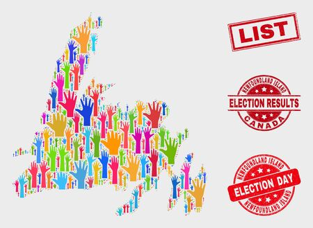 Ballot Newfoundland Island map and seal stamps. Red rectangular List scratched seal stamp. Colorful Newfoundland Island map mosaic of raised voting arms. Vector collage for election day,