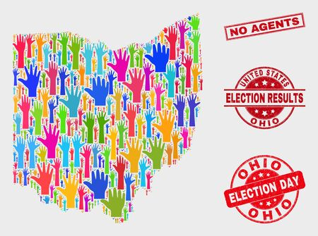 Electoral Ohio State map and seal stamps. Red rectangle No Agents distress seal. Bright Ohio State map mosaic of raised support hands. Vector combination for election day, and referendum results.
