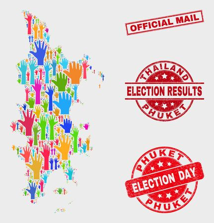 Political Phuket map and seal stamps. Red rectangular Official Mail grunge seal stamp. Colorful Phuket map mosaic of upwards like hands. Vector collage for election day, and referendum results. Иллюстрация