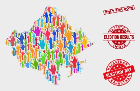 Ballot Rajasthan State map and seals. Red rectangular Only for Boys grunge watermark. Bright Rajasthan State map mosaic of raised referendum hands. Vector composition for election day, Иллюстрация