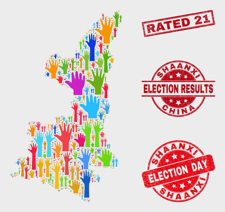 Electoral Shaanxi Province map and watermarks. Red rectangle Rated 21 distress stamp. Bright Shaanxi Province map mosaic of raised up electoral hands. Vector collage for election day, Stock Illustratie