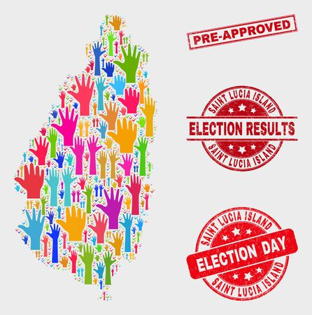 Vote Saint Lucia Island map and stamps. Red rectangle Pre-Approved scratched stamp. Colorful Saint Lucia Island map mosaic of raised referendum arms. Vector combination for election day,