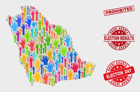 Democracy Saudi Arabia map and seal stamps. Red rectangular Prohibited grunge seal. Colorful Saudi Arabia map mosaic of raised up referendum hands. Vector collage for election day,