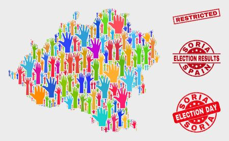 Voting Soria Province map and seal stamps. Red rectangular Restricted grunge seal stamp. Bright Soria Province map mosaic of raised up referendum hands. Vector collage for election day,