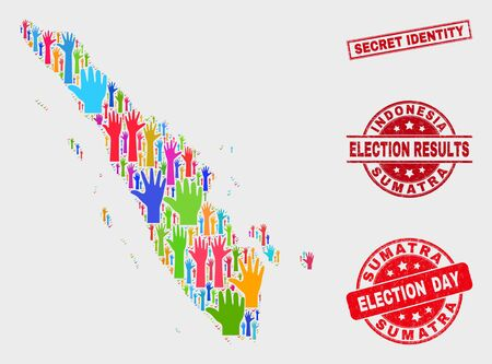 Election Sumatra map and seal stamps. Red rectangle Secret Identity textured seal stamp. Bright Sumatra map mosaic of raised up ballot hands. Vector composition for election day, and ballot results.