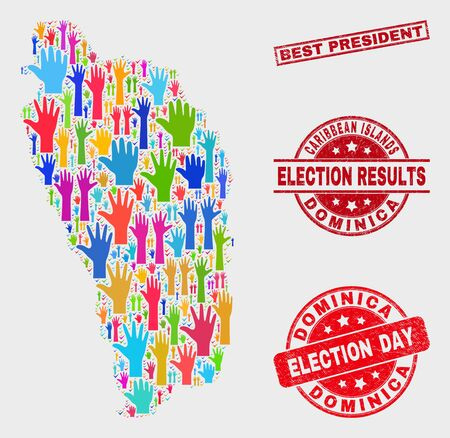 Election Dominica Island map and seals. Red rectangular Best President distress watermark. Colorful Dominica Island map mosaic of raised up election hands. Vector combination for election day,
