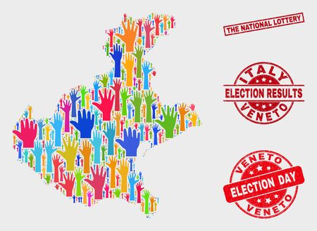 Election Veneto region map and seal stamps. Red rectangle The National Lottery scratched seal stamp. Bright Veneto region map mosaic of upwards solution arms. Vector collage for election day,