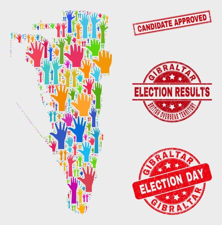 Political Gibraltar map and seal stamps. Red rectangle Candidate Approved textured seal stamp. Colored Gibraltar map mosaic of raised ballot arms. Vector collage for election day, and ballot results.