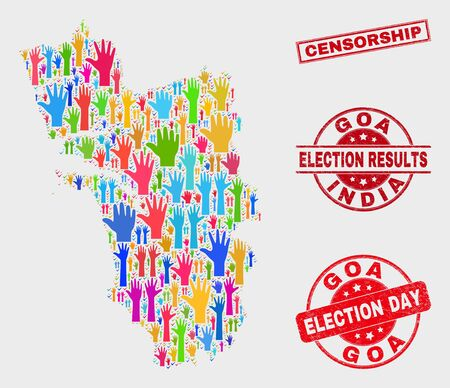 Ballot Goa State map and stamps. Red rectangular Censorship scratched watermark. Colored Goa State map mosaic of raised election arms. Vector combination for election day, and ballot results. Illustration