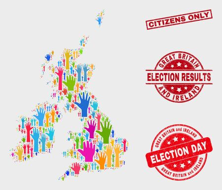 Democrat Great Britain and Ireland map and stamps. Red rectangular Citizens Only scratched seal. Colorful Great Britain and Ireland map mosaic of raised up vote arms. Vector collage for election day,