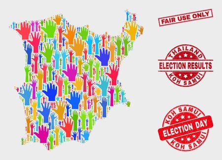 Political Koh Samui map and seals. Red rectangular Fair Use Only scratched seal stamp. Bright Koh Samui map mosaic of upwards ballot arms. Vector combination for election day, and ballot results. Illustration
