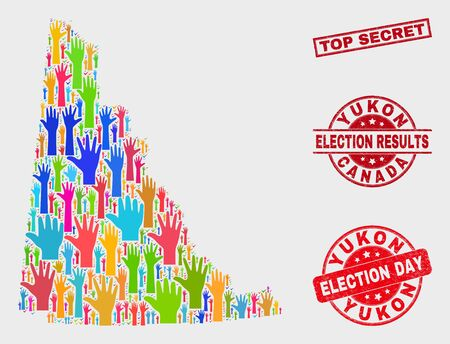 Democracy Yukon Province map and seal stamps. Red rectangle Top Secret grunge seal. Bright Yukon Province map mosaic of raised up vote arms. Vector collage for election day, and ballot results. Illustration