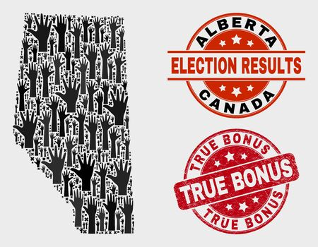 Ballot Alberta Province map and watermarks. Red round True Bonus distress seal stamp. Black Alberta Province map mosaic of upwards choice arms. Vector combination for ballot results,