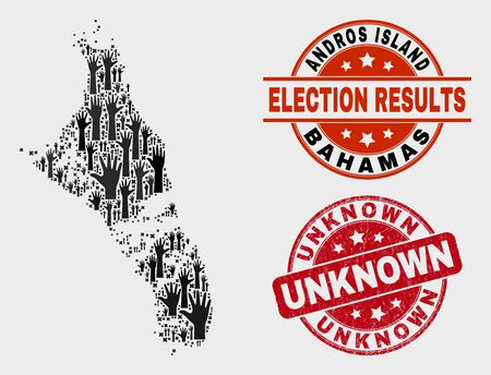 Ballot Andros Island of Bahamas map and seals. Red rounded Unknown grunge stamp. Black Andros Island of Bahamas map mosaic of raised up referendum arms. Vector combination for referendum results,