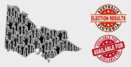 Election Australian Victoria map and seal stamps. Red round Available For textured stamp. Black Australian Victoria map mosaic of raised up help arms. Vector combination for election results,