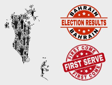 Ballot Bahrain map and seal stamps. Red rounded First Come First Serve scratched stamp. Black Bahrain map mosaic of upwards help hands. Vector collage for ballot results, Illustration