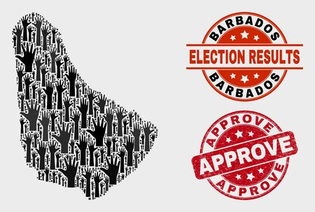 Political Barbados map and seal stamps. Red rounded Approve textured seal stamp. Black Barbados map mosaic of upwards agree hands. Vector combination for election results, with Approve stamp.