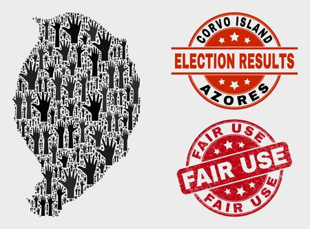Patriotic Corvo Island map and seal stamps. Red rounded Fair Use scratched seal stamp. Black Corvo Island map mosaic of raised up decision hands. Vector collage for ballot results,