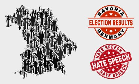 Patriotic Bavaria Land map and stamps. Red round Hate Speech distress seal. Black Bavaria Land map mosaic of upwards electoral hands. Vector collage for election results, with Hate Speech seal. Illustration