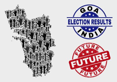 Political Goa State map and seal stamps. Red round Future scratched seal stamp. Black Goa State map mosaic of upwards vote hands. Vector composition for election results, with Future seal.