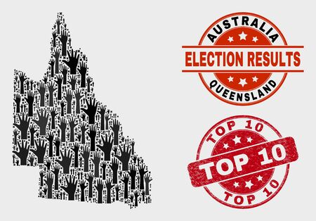Ballot Australian Queensland map and seal stamps. Red round Top 10 grunge seal stamp. Black Australian Queensland map mosaic of raised up volunteer arms. Vector composition for election results,