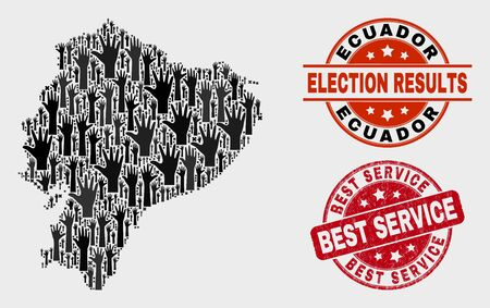 Vote Ecuador map and stamps. Red round Best Service textured seal. Black Ecuador map mosaic of raised up vote arms. Vector combination for ballot results, with Best Service seal.