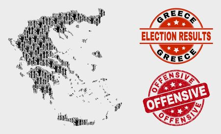 Vote Greece map and seal stamps. Red rounded Offensive distress stamp. Black Greece map mosaic of upwards decision hands. Vector combination for ballot results, with Offensive stamp. Illustration