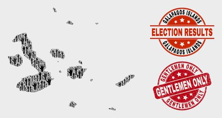 Political Galapagos Islands map and seal stamps. Red round Gentlemen Only textured seal stamp. Black Galapagos Islands map mosaic of upwards vote arms. Vector combination for referendum results,