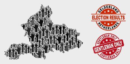 Electoral Gelderland Province map and seal stamps. Red rounded Gentleman Only grunge seal stamp. Black Gelderland Province map mosaic of upwards like arms. Vector composition for referendum results, Иллюстрация