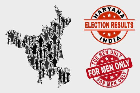Election Haryana State map and seal stamps. Red round For Men Only grunge stamp. Black Haryana State map mosaic of raised up help arms. Vector collage for election results,