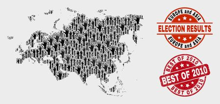 Electoral Europe and Asia map and seals. Red round Best of 2010 textured stamp. Black Europe and Asia map mosaic of raised electoral hands. Vector collage for election results, Illustration