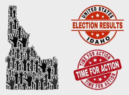 Ballot Idaho State map and watermarks. Red round Time for Action grunge seal stamp. Black Idaho State map mosaic of raised up support arms. Vector combination for ballot results,  イラスト・ベクター素材