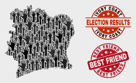 Electoral Ivory Coast map and watermarks. Red round Best Friend grunge seal stamp. Black Ivory Coast map mosaic of raised up selection hands. Vector combination for referendum results,
