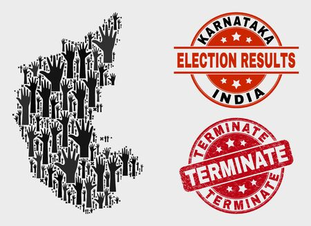 Political Karnataka State map and watermarks. Red rounded Terminate textured seal stamp. Black Karnataka State map mosaic of raised up solution arms. Vector composition for election results, Illustration