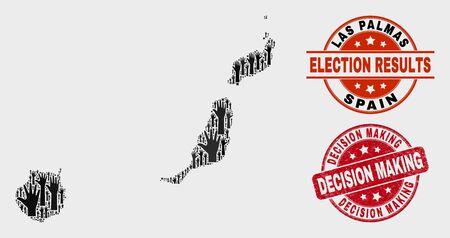 Mapa político de la provincia de Las Palmas y sellos. Sello de socorro de toma de decisiones redondo rojo. Mosaico negro del mapa de la provincia de Las Palmas de manos electorales levantadas. Composición de vectores para los resultados electorales,