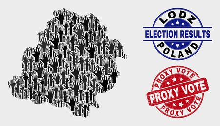Political Lodz Voivodeship map and seal stamps. Red round Proxy Vote grunge seal stamp. Black Lodz Voivodeship map mosaic of upwards raising hands. Vector collage for referendum results, 向量圖像
