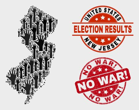 Election New Jersey State map and seals. Red round No War! scratched seal. Black New Jersey State map mosaic of raised like hands. Vector combination for election results, with No War! seal.