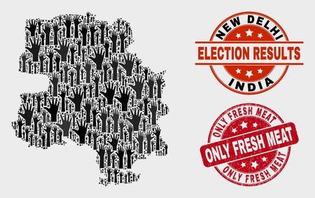 Electoral New Delhi City map and seals. Red round Only Fresh Meat scratched seal stamp. Black New Delhi City map mosaic of raised electoral arms. Vector combination for referendum results,