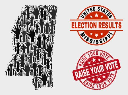 Ballot Mississippi State map and seal stamps. Red round Raise Your Vote grunge seal. Black Mississippi State map mosaic of upwards voting arms. Vector collage for ballot results,