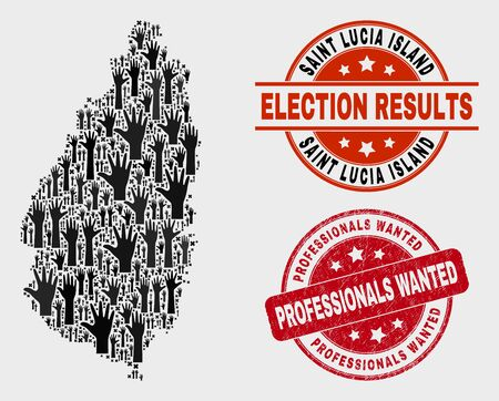 Democracy Saint Lucia Island map and watermarks. Red rounded Professionals Wanted grunge seal. Black Saint Lucia Island map mosaic of upwards ballot arms. Vector composition for ballot results, Illustration