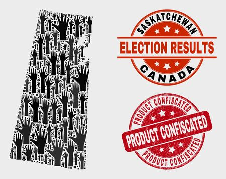 Patriotic Saskatchewan Province map and seal stamps. Red round Product Confiscated distress seal. Black Saskatchewan Province map mosaic of raised electoral hands. Vector collage for ballot results,