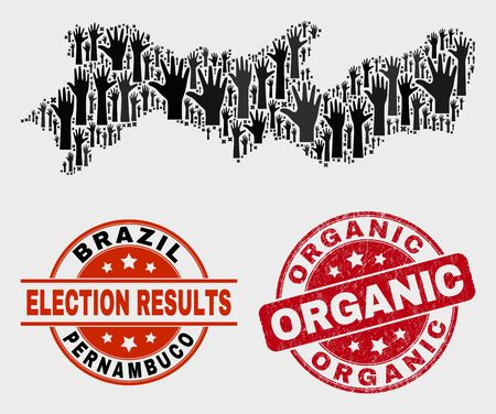 Ballot Pernambuco State map and seal stamps. Red round Organic grunge stamp. Black Pernambuco State map mosaic of raised ballot arms. Vector collage for ballot results, with Organic seal stamp. Banque d'images - 125878122