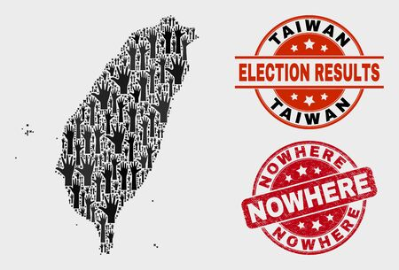 Democracy Taiwan map and seal stamps. Red rounded Nowhere grunge seal. Black Taiwan map mosaic of raised up referendum arms. Vector collage for referendum results, with Nowhere seal stamp.
