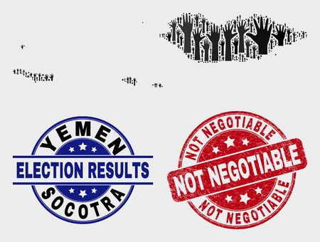 Political Socotra Archipelago map and seal stamps. Red round Not Negotiable grunge seal stamp. Black Socotra Archipelago map mosaic of raised up support hands. Vector collage for referendum results,